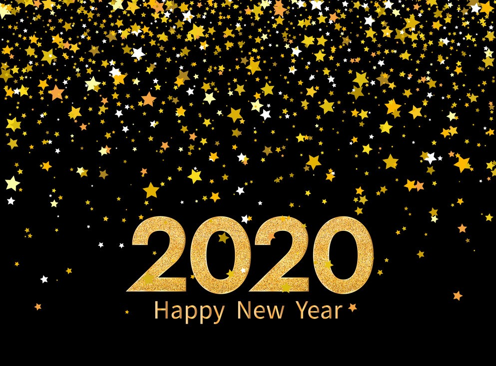 2020 happy new year golden numbers and stars on vector 24913792
