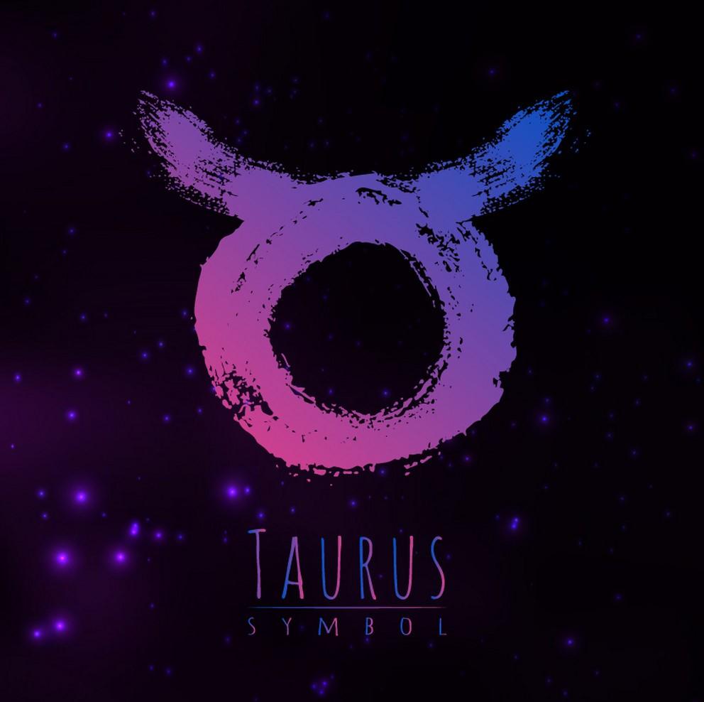 abstract zodiac sign taurus on a dark vector 18335772 1